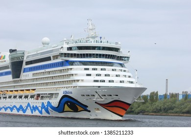 Velsen, the Netherlands -April 24th, 2017:   Aida Diva on North Sea Canal, on it's way to the Amsterdam Cruise Terminal