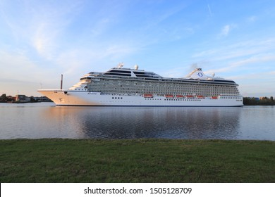 Velsen, the Netherlands August 30th, 2019: MS Riviera operated by Oceania Cruises, sailing from Passenger Terminal Amsterdam to IJmuiden North Sea sealock