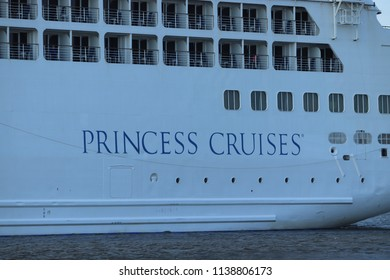 Velsen, The Netherlands - July 17th 2018: Pacific Princess operated by Princess Cruises and P&O Cruises Australia on North sea canal, detail of name on hull