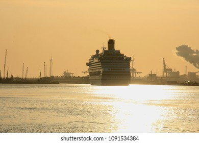 Velsen, The Netherlands - May, 15th 2018: Costa Favolosa on a sunset North Sea Channel towards North Sea
