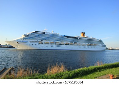 Velsen, The Netherlands - May, 15th 2018: Costa Favolosa on North Sea Channel towards North Sea