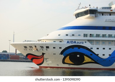 Velsen, the Netherlands -May 25th 2018: Aida Aura on North Sea Canal, from Amsterdam Cruise Terminal to sea lock