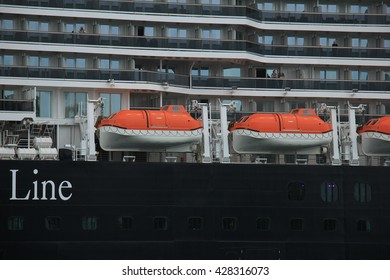 Velsen, the Netherlands - May, 29th 2016: MS Koningsdam. MS Koningsdam on a trip from Amsterdam to the North Sea. The Koningsdam is a cruise ship operated by Holland America Line.