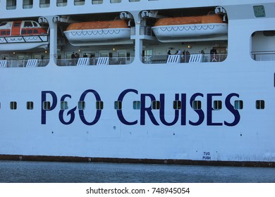 Velsen, The Netherlands - May, 31st 2017: Aurora P&O Cruises on North Sea Channel,  detail of life boats