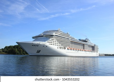 Velsen, The Netherlands - September 10th, 2016: MSC Splendida a cruise ship owned and operated by MSC Cruises on North Sea Canal