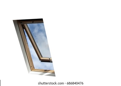 velux skylight window with view of sky and clouds, isolated with clipping path