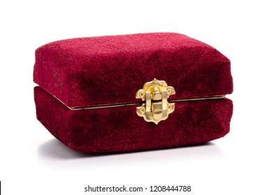 Velvet jewerly box on a white background isolation