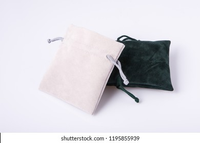 Velvet pouches for jewelry isolated on white