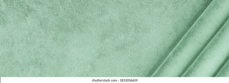 velvet texture mint color background banner. expensive luxury fabric, material,  wallpaper. copy space - Shutterstock ID 1815036659