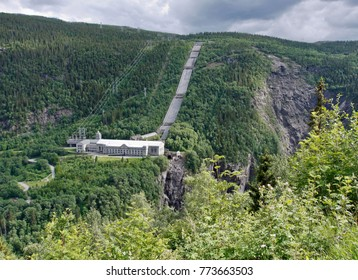 The Vemork Hydroelectric Power Plant in Rjukan, Norway seen from highway 37. The first plant in the world to mass-produce heavy water. Museum today.