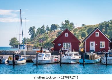 Ven, Sweden - June 15 2018: Bäckvikens hamn.