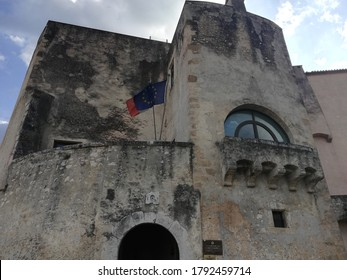 Venafro, Italy - August 7, 2020: The Pandone castle of Venafro