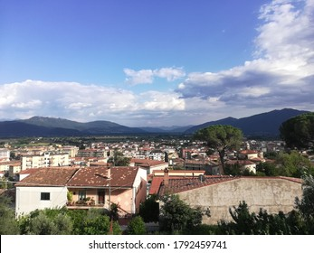 Venafro, Italy - August 7, 2020: panorama of the city of Venafro in the province of Isernia from the top of the Pandone castle