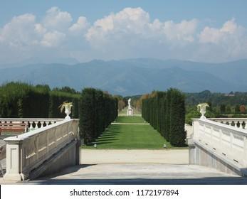 VENARIA, ITALY - CIRCA AUGUST 2018: Gardens of the Reggia di Venaria palace