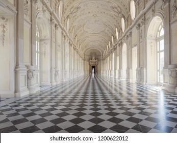 VENARIA, ITALY - CIRCA AUGUST 2018: Galleria Grande aka Galleria di Diana (meaning Great Gallery or Diana Gallery) at Reggia di Venaria