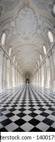 Venaria (Turin), Italy - 05 23 2015: vertical panorama of the Baroque Galleria Grande (also known as Diana's Gallery) inside the Royal Palace of Venaria