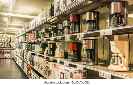 VENDENHEIM, FRANCE - APRIL 6, 2017: Display of kitchen appliances such as coffee machines or microwaves in a french electrical goods store.