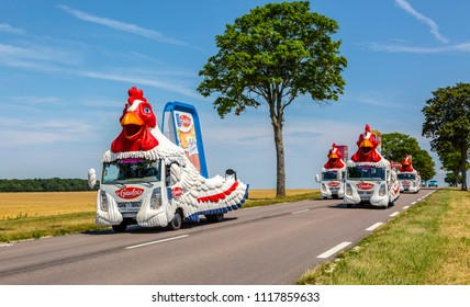 Vendeuvre-sur-Barse, France - 6 July, 2017: Le Gaulois caravan passes through a region of wheat fields in the Publicity Caravan before the cyclists during the stage 6 of Tour de France 2017.