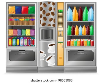 vending coffee snack and water is a machine illustration