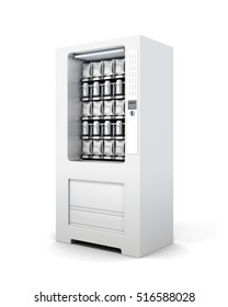 Vending machine for snacks and soda isolated. 3d rendering.