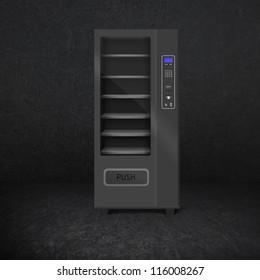 vending snack is a machine in room. Dark room