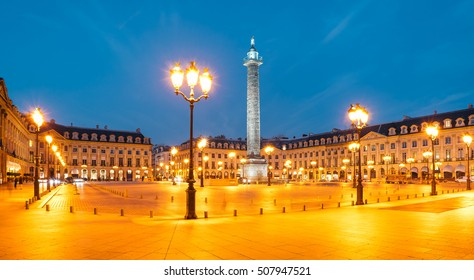 Vendome column with statue of Napoleon Bonaparte, on the Place Vendome at night, in France. Vendome column has 425 spiraling bas-relief bronze plates were made out of cannon.