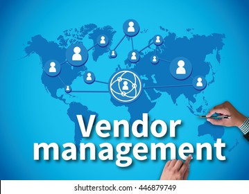 Vendor management businessman work on white broad, top view