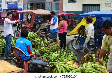 Vendors in Iquitos offering plantain, bananas and other tropical fruit produce from the Amazon regions of Peru. April 18th, 2013