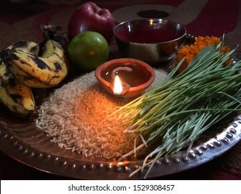 A veneration plate for the auspicious occasion of Dashain festival.