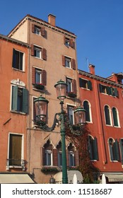 Venetian architecture showing street lamp and building craftsmanship