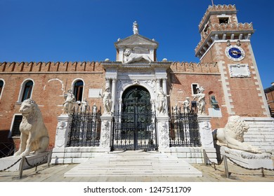 Venetian Arsenal gate and walls in a sunny summer day in Venice, Italy