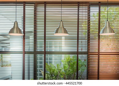 Venetian blind window mask, room interior with ceiling lamp beam, blinds window decoration concept for banner or background.