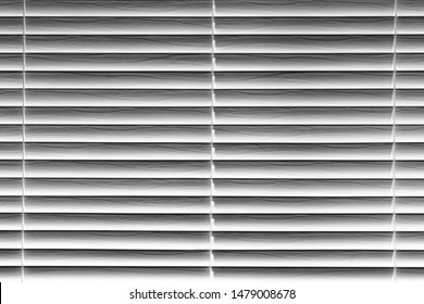 Venetian Blinds background, abstract backdrop in black and white. High contrast light and shadows, detailed wood grain slats.