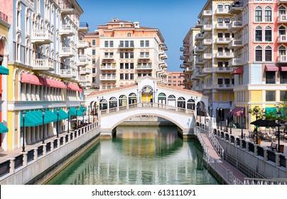 Venetian bridge in the Qanat Quartier at the Pearl in Doha, Qatar