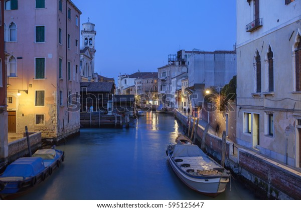 Venetian canal in the evening. Italy.