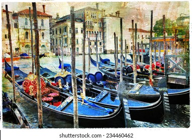 Venetian canals and gondolas. artwork in painting style