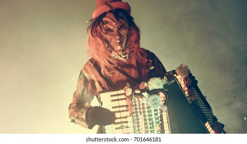 Venetian carnival accordion player