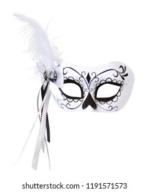 Venetian carnival mask isolated on white background, Carnival mask decorated with designs, Carnival mask with exotic birds feather on bright background, Theatre day, close up
