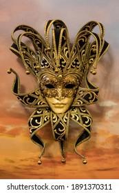 Venetian carnival mask. The jester's mask.
