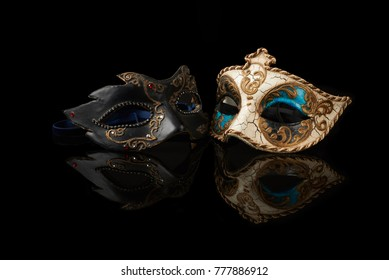 venetian carnival mask on black background