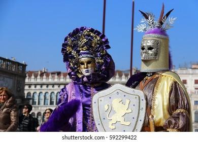 Venetian carnival mask. Venice Italy, February 20, 2017