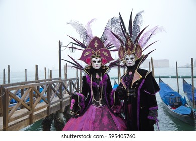 Venetian Carnival - Masks and People, Venice, Italy