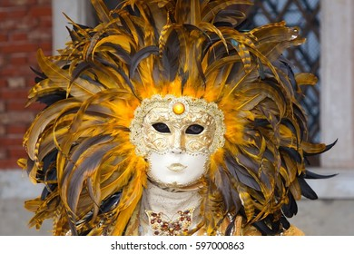 Venetian Carnival - Masks and People in Venice, Italy