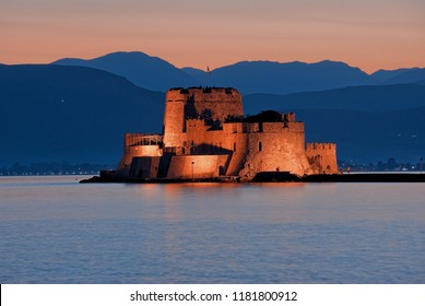 venetian Castle of Bourtzi in the Bay of Nauplion at the dusk, Greece
