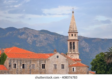 Venetian church under the cloudy sky in the old town of Budva, Montenegro