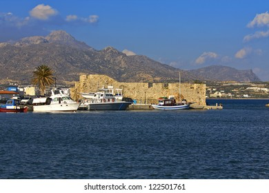 Venetian Fortress of Kales and the Harbor of Ierapetra city at Crete island in Greece