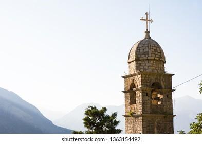 Venetian fortress of St. John and Chapel of Salvation of Virgin on Mount Pestingrad against picturesque bay. Kotor. Montenegro