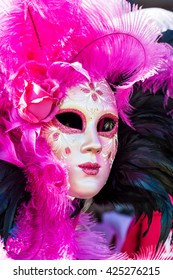Venetian full-face masks for Carnival in the shop of Venice, Italy