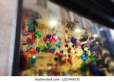 venetian glass balloons. multicolor decoration