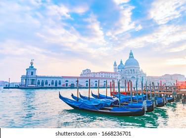 Venetian gondolas on Grand Canal with Santa Maria della Salute Basilica in the background, Venice, Italy